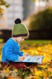 Garçon mignon, lisant un livre sur une pelouse pendant l'après-midi Photos stock