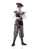 Garçon mignon posant dans le costume de pirate avec la correction d'oeil image stock