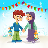 Garçon musulman et fille célébrant Ramadan illustration de vecteur