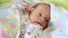 Garçon nouveau-né dans la huche clips vidéos