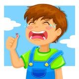 Garçon pleurant illustration stock