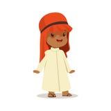 Garçon portant dans la robe blanche et la coiffe musulmane rouge, costume national de vecteur coloré de caractère de l'Arabie Sao illustration stock
