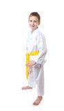 Garçon portant l'uniforme du Taekwondo Image stock