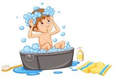 Garçon prenant le bubblebath dans le baquet illustration stock