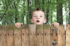 Garçon regardant de au-dessus d'une frontière de sécurité. Landscap en bois Photos stock