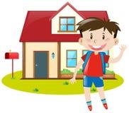 Garçon restant à la maison illustration de vecteur