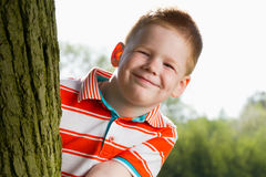 Garçon se cachant derrière l'arbre Photographie stock