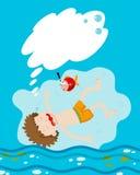 Garçon se noyant sous l'eau illustration libre de droits