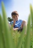 Garçon Searchin d'insecte dans l'herbe Images libres de droits