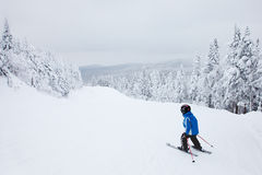 Garçon skiant en bas d'une pente facile chez Mont-Tremblant image stock