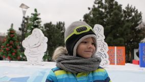 Garçon souriant sur le fond des arbres de Noël L'hiver banque de vidéos