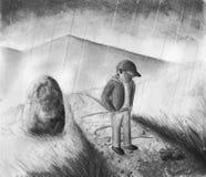 Garçon sous la pluie - noire et blanche Photographie stock libre de droits