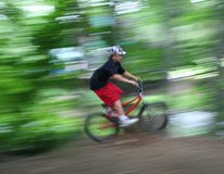 Garçon sur la vitesse de vélo Photo libre de droits
