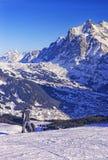 Garçon sur le surf des neiges à la station de vacances de sport d'hiver dans les alpes suisses Photographie stock