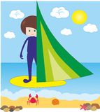 Garçon sur windsurfing en mer Photographie stock