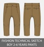 Garçon technique de croquis de mode 2-6 ans de pantalon Photos libres de droits