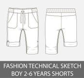 Garçon technique de croquis de mode 2-6 ans de shorts Photographie stock libre de droits