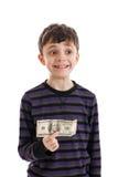 Garçon tenant l'argent Photos libres de droits