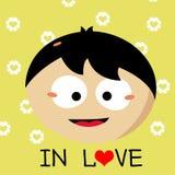 Garçon tombant dans la bande dessinée d'amour images stock