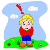 Garçon triste et seul de dessin animé Photo libre de droits