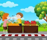 Garçon vendant des fruits sur le trottoir illustration de vecteur