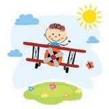 Garçon volant au-dessus d'un champ illustration stock