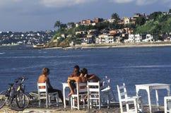 Garçons détendant devant la mer, Brésil Images stock
