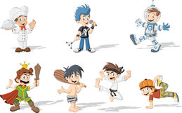 Garçons de bande dessinée utilisant différents costumes Image libre de droits
