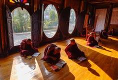 Garçons de novice étudiant au monastère bouddhiste Photos libres de droits