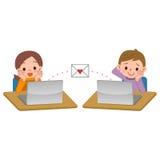 Garçons et filles à l'échange de courrier illustration stock