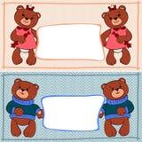 Garçons et filles d'ours de bannière Images libres de droits