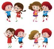 Garçons et filles dansant dans les couples illustration libre de droits
