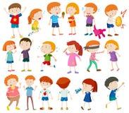 Garçons et filles faisant différentes activités illustration de vecteur