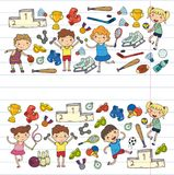 Garçons et filles jouant la forme physique d'illustration de sports, le football, le football, yoga, tennis, basket-ball, hockey, illustration de vecteur