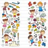 Garçons et filles jouant la forme physique d'illustration de sports, le football, le football, yoga, tennis, basket-ball, hockey, Photos libres de droits