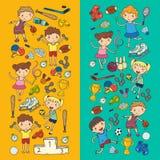Garçons et filles jouant la forme physique d'illustration de sports, le football, le football, yoga, tennis, basket-ball, hockey, Photo libre de droits