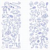 Garçons et filles jouant la forme physique d'illustration de sports, le football, le football, yoga, tennis, basket-ball, hockey, Photo stock