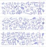 Garçons et filles jouant la forme physique d'illustration de sports, le football, le football, yoga, tennis, basket-ball, hockey, Images libres de droits