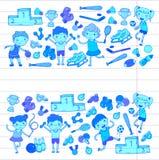 Garçons et filles jouant la forme physique d'illustration de sports, le football, le football, yoga, tennis, basket-ball, hockey, Photos stock