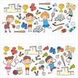 Garçons et filles jouant la forme physique d'illustration de sports, le football, le football, yoga, tennis, basket-ball, hockey, Photographie stock
