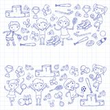 Garçons et filles jouant la forme physique d'illustration de sports, le football, le football, yoga, tennis, basket-ball, hockey, Image stock