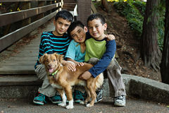 3 garçons et un chien image stock