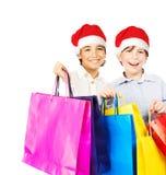 Garçons heureux de Santa avec des cadeaux Image libre de droits