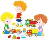 Garçons jouant avec des voitures de jouet illustration stock