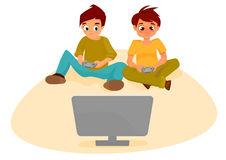 Garçons jouant des jeux vidéo Images libres de droits