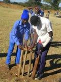 Garçons jouant le mini cricket à un au sol d'école Image libre de droits