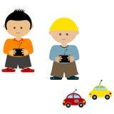 Garçons jouant les véhicules contrôlés par radio illustration stock