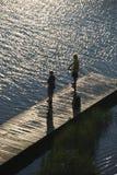 Garçons pêchant sur le dock. photos libres de droits