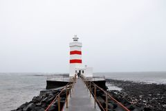 Garður Lighthouse in Icelandd stock images