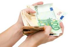 garść banknotów euro Obraz Royalty Free
